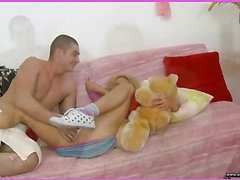 Brianna is home alone playing with her teddy bear when this babe is lastly approached by her stud. This Guy goes down on her cookie and laps up each drop of her moist snatch and then this guy bonks her slit hole with a purple sex-toy. That Guy fingers her constricted little chocolate hole as this guy stretches the muscle. This Babe takes a double penetration of the sextoy and his fingers in her holes. BriannaтАЩs booty is priceless and constricted and heтАЩs doing his most good to stretch it for his dick as this chab fingers her and stretches her muscle. Then little Brianna takes him in her mouth as heтАЩs still trying to stretch her open for his shlong. That Guy copulates her cum-hole for several minutes and then starts the task of putting the tip of his rod her butt in as that babe squirms. Lastly that babe sucks him off on the couch as that guy cums in her mouth.