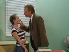 Katie St Ives went to college hoping to get an education but all that babe wants is sex.  This Babe's got the kind of hawt body that guys can't resist, and this babe pays a visit to her much loved professor during his office hours to watch if this babe can get some one-on-one attention.