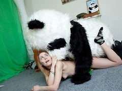 What's the most outstanding way to talk the panda bear to join the army? Maybe a sexy breasty teenage hottie in a military outfit can do that? That Babe was very stern and tried to train him to march and to work out. But the panda bear's got smth else on his mind! This Chab's gonna train the cutie to have fun with sex! And as pretty soon as the sexy chick saw this shiny large dong of his, this babe forgot all about the army and plunged into fun fucking with the horny bear. Watch, the good old slogan `Make love not war` still works for chicks :)
