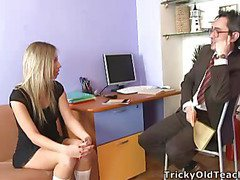 Blond chick came to the professor's office and in a during the time that his obese rod was sliding betwixt her soft vagina lips.