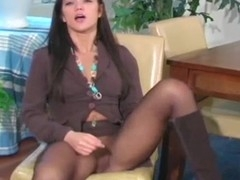 Sexy cutie strips and takes off admirable hose after sexy posing