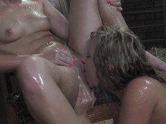 Cute lesbos getting each other wet