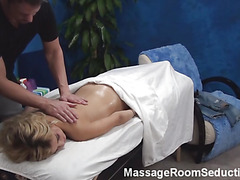 Pretty stud massages wonderful fresh sensitive body of stunning golden-haired hotty becoming aroused so much from this process. His dick becomes inflexible and the cutie feels it. Watch 'em fucking well after that.