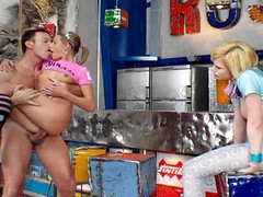 Watch Rocco's amazing behind the scene with two cute nubiles!